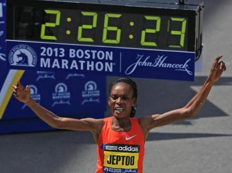 Rita Jeptoo won the women's marathon.